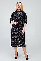 Батальное платье А-силуэта из эко-кожи и шифоновой юбки размеры 50, 52