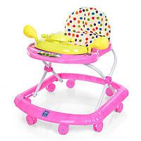 Детские музыкальные ходунки с игровой съемной панелью и подвижным рулем, розового цвета арт. 2750