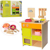 Детская деревянная игрушечная кухня с аксессуарами размер кухни 45-28,5-68,5 см арт. 13025