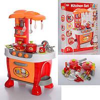 """Детская игрушечная кухня """"Little chef"""" с посудой и со  свет и звук эффектами, красного цвета арт. 008-801А"""