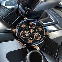 Часы наручные мужские кварцевые Mini Focus Чёрные с бежевым корпусом