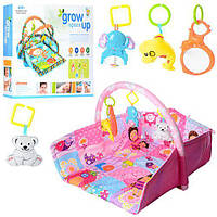 *Развивающий мягкий игровой коврик с подвесными игрушками для малышей, размер коврика: 65-70-55 см арт. D 105