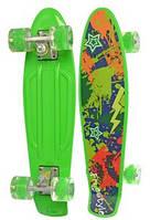 Детский скейт (пенни борд) со светящимися колесами, САЛАТОВЫЙ АБСТРАКЦИЯ, размер 55-14,5 см, до 70кг арт. 0749