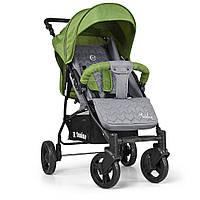 Детская прогулочная коляска с корзиной (+чехол на ножки, подстаканник, дождевик) зеленого цвета арт. 1012-5