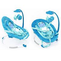 Детский Шезлонг Качалка для малышей Baby Tilly с музыкальной дугой, игрушками, ремни, голубой арт. BB-0002