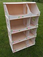 Игровой Кукольный Домик-шкаф для игрушек Hega для дома и улицы с росписью белый, 60х30х114 см, арт. TM Hega*
