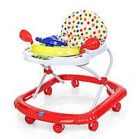 Детские музыкальные ходунки с игровой съемной панелью и подвижным рулем, красного цвета арт. 2750