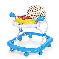 Детские музыкальные ходунки с игровой съемной панелью и подвижным рулем, голубого цвета арт. 2750