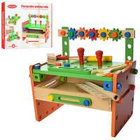 Детский деревянный конструктор для мальчиков Стойка с инструментами, деталями для столика 32х30х18 см арт. 015