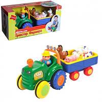 Детский Музыкальный Игровой набор Трактор с животными фермы, стихи и песни на русском Kiddieland арт. 049726
