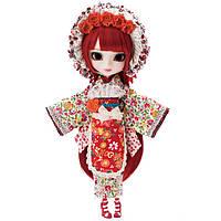 Кукла Коллекционная шарнирная Пуллип Каяно в кимоно с цветочным принтом, аксессуары, подставка - Pullip Kayano