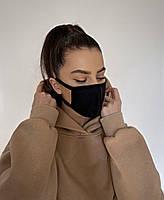 Защитная маска для лица черная тканевая без принта, качественные маски защитные, модная и качественная K-pop