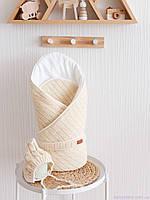 """Вязанный набор на выписку """"Косы"""": конверт + шапочка, бежевого цвета"""