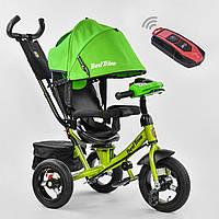 Велосипед детский 3-х колёсный (надувные колёса, поворотное сидение, фара), Best Trike, зеленый арт. 7700-2550