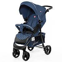 Детская прогулочная коляска в льне (+чехол на ножки, подстаканник, дождевик), TM Carrello, цвет Blue арт. 8502