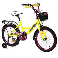 Велосипед детский 2х колесный, (18 дюймов) с дополнительными надувными колесами, Corso, для 4-7 лет арт. 18175