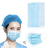 Защитная маска с гибкой вставкой  для лица мастера, 50 шт, бело голубая