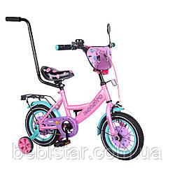 """Двухколесный велосипед розовый с голубым ободом и родительской ручкой TILLY Monstro 12"""" детям 2-4 года"""