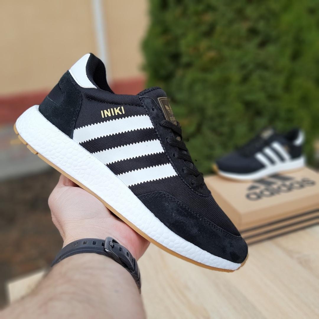 Мужские кроссовки Adidas Iniki (черно/белые) 10045