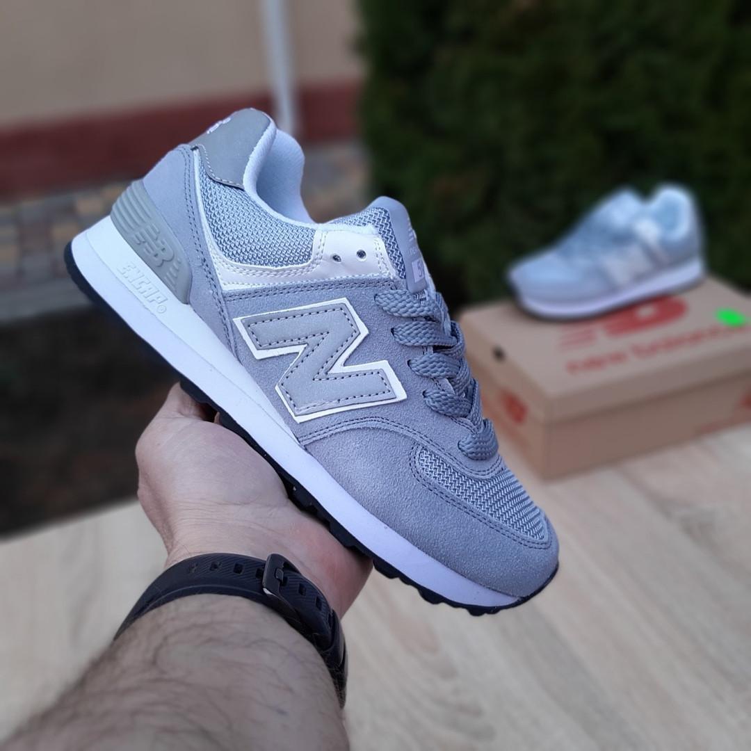 Женские замшевые кроссовки New Balance 574 (серо-голубые) 20032