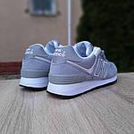 Женские замшевые кроссовки New Balance 574 (серо-голубые) 20032, фото 3