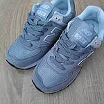Женские замшевые кроссовки New Balance 574 (серо-голубые) 20032, фото 7