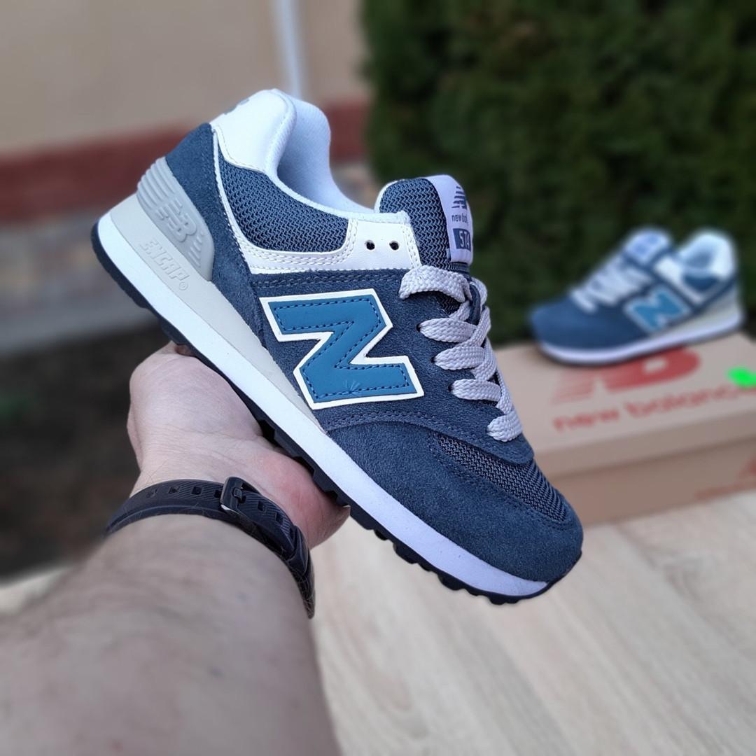 Женские замшевые кроссовки New Balance 574 (сине-зеленые) 20033