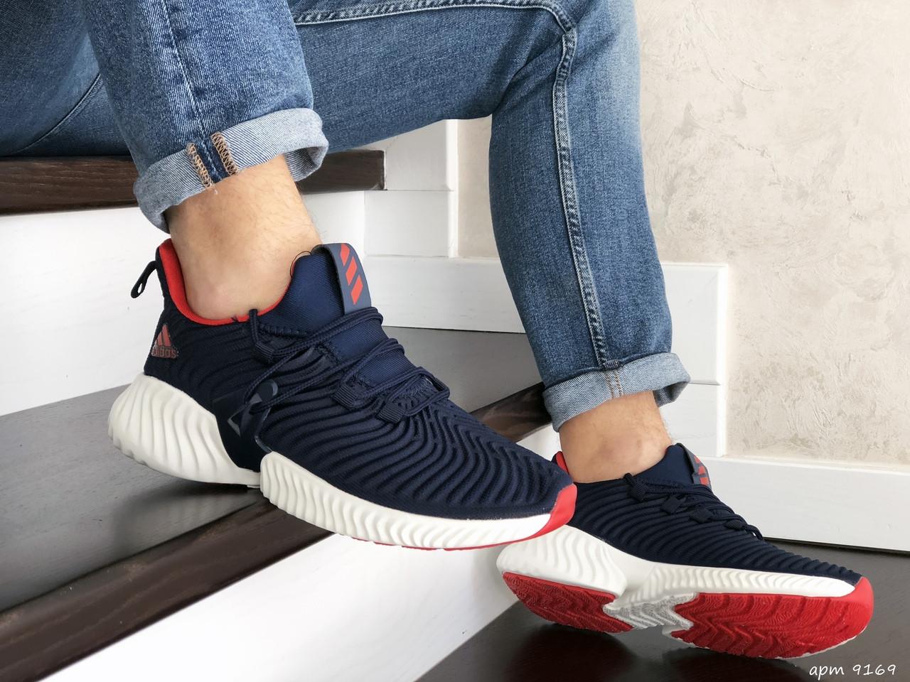 Мужские кроссовки Adidas (темно-синие с белым) 9169