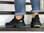 Мужские кроссовки Adidas (черно-салатовые) 9171, фото 4
