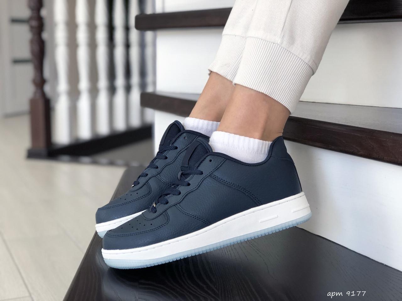 Женские кожаные кроссовки Force (темно-синие) 9177
