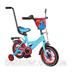 """Двухколесный велосипед голубой с красным ободом и родительской ручкой TILLY Monstro 12"""" детям 2-4 года"""
