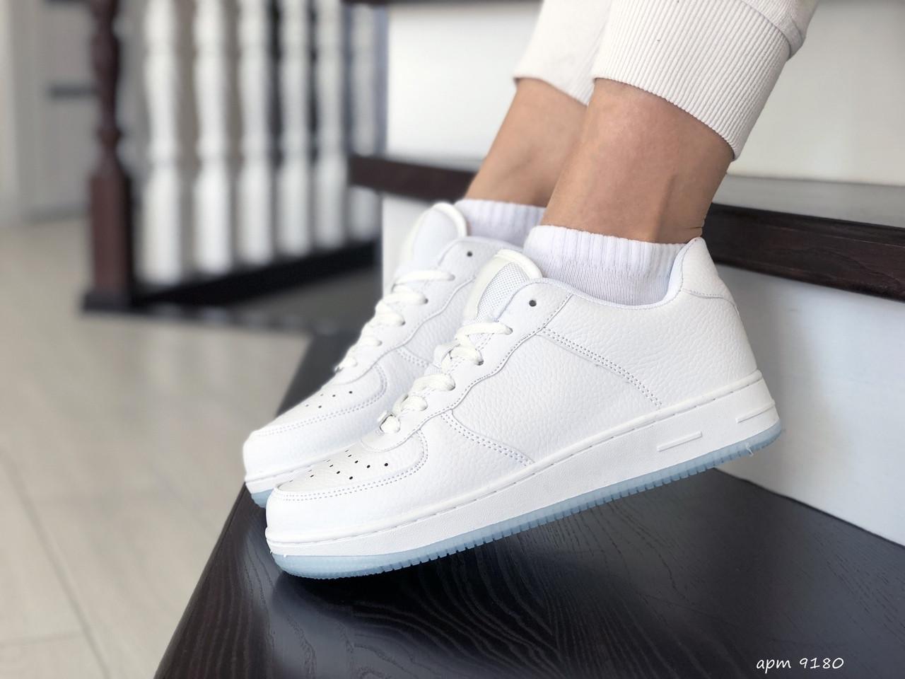 Женские кожаные кроссовки Force (белые) 9180