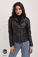Стёганая чёрная куртка с накладными карманами