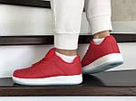 Женские кожаные кроссовки Force (красные) 9179, фото 3