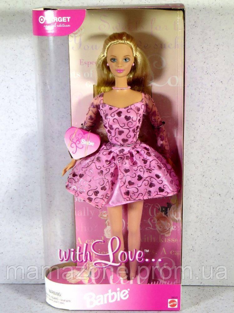 Купить Коллекционная Кукла Барби С Любовью, розовое платье в сердечках с длинным рукавом 1999 года - Barbie With Love