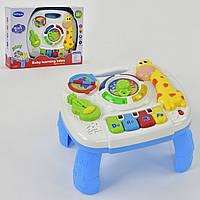 Детский Развивающий Игровой Стол, световые и звук. эффекты, часы, гитара, можно крепить к кроватке арт. 1089