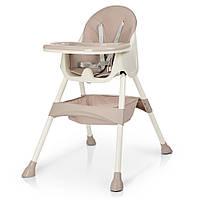 Детский удобный стульчик для кормления от Bambi со съемным столиком и корзиной арт. 4136