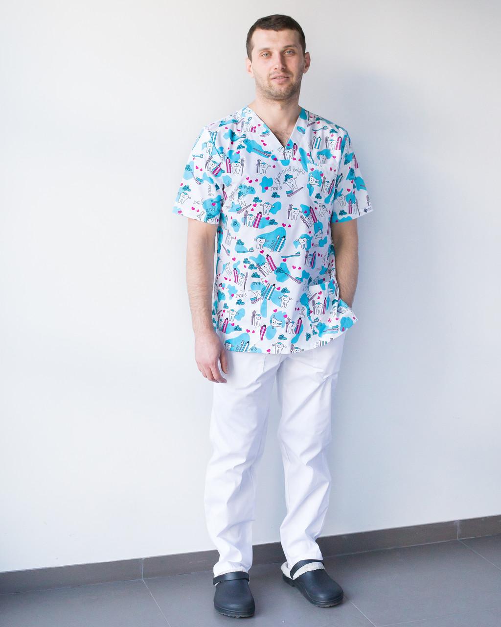 Медицинский мужской костюм Гранит принт Teeth smile