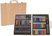 Набір для малювання та творчості дитячий на 131 предмет в дерев'яному ящику-кейсі 38x33x5 см