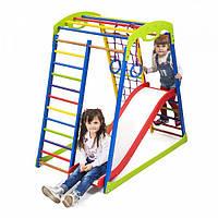 Детский спортивный комплекс-уголок для дома и квартиры, сетка, горка, кольца, рукоход 132х85х130 см SWP 1