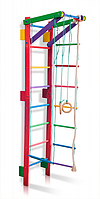 Детская Шведская стенка - цветной спортивный уголок: кольца, канат, турник, лестница 55х220 см розовый T2-220, фото 1
