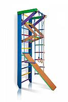 Детская шведская стенка, спортивный уголок цветной гимнастический, кольца, канат, турник-рукоход, лестница 240х80 см Р3-240