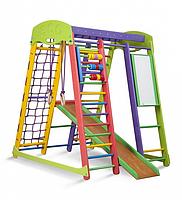 Детский спортивный комплекс-уголок для дома и квартиры, сетка, горка, кольца, рукоход 150х124х132 см А