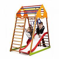 Детский спортивный комплекс-уголок для дома и квартиры, сетка, горка, кольца, рукоход 150х85х132 см KWP 1