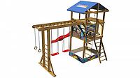 Детская площадка-комплекс спортивный деревянный, башня, песочница, горка, качели, кольца 315х400х400 см