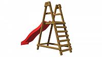 Детская площадка-игровой комплекс спортивный деревянный, горка + лестница 220х330х80 см