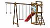 Детская площадка - деревянный спортивный комплекс с горкой, качели, площадка с лестницей и кольца 240х360х380