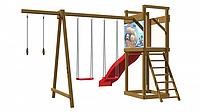Детская площадка - деревянный спортивный комплекс с горкой, качели, площадка с лестницей и кольца 240х360х380, фото 1