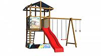 Детская площадка-комплекс спортивный деревянный, башня с песочницей, горка, качели и кольца 315х400х450 см