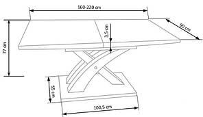 Стол раскладной SANDOR 2 160*90(белый) (Halmar), фото 2